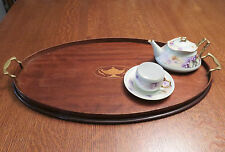 Large antique Mahogany oval serving tray by Manning Bowman