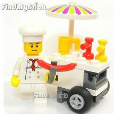 M037A Lego Cook Chef Hot Dog Vendor Guy Minifigure with Hot Dog Stand NEW