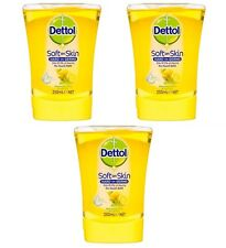 3 x Dettol No Touch Hand Wash Refreshing Citrus & Jasmine refill 250ml Brand New