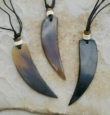 3 LARGE HORN TOOTH SHAPE PENDANTS WITH BEADS ON ADJUSTABLE CORD NECKLACES/ n250