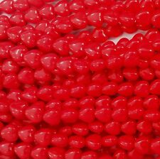 50 Red Opaque Czech Pressed Glass Heart Beads 6x6mm crafts - No. 9320