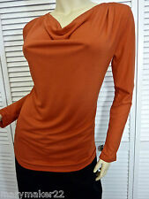 NWT $78 ZOZO TOP SHIRT SMALL 'FIRE' RED LONG SLEEVE DRAPE NECK STRETCHY KNIT
