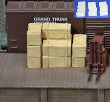 #H039 HO Plaster Wood Crates 12pcs HOn3 Produits MP diorama Caisse de bois