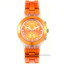 Swatch reloj irony diaphane Chrono Full Blooded naranja nuevo y en su embalaje original-svck 4051ag