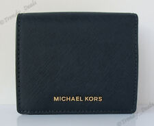 Michael Kors Jet Set Travel Carryall Card Case Wallet Saffiano Admiral Navy Blue