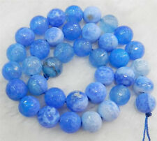 Faceted 8mm Blue Dream Fire Dragon Veins Agate Round Gems Loose Beads 15""