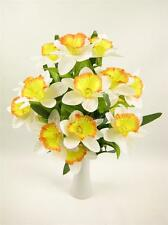 44cm Artificial Silk Flowers White / Yellow Daffodil Bush Table Decorations