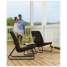 3 Pc Patio Chair Set All Weather Outdoor Garden Furniture Rattan Design Brown