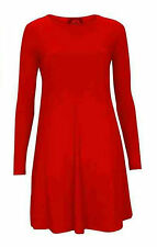 Womens Plain Jersey Tartan Print Long Sleeve Ladies Party Swing Skater Dress8-24