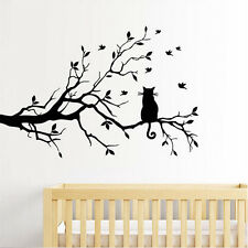 Cat On Tree Branch Wall Decal Removable Stickers Decor Art Kids Nursery Room