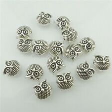 18492 15pcs Vintage Silver Alloy Animal 11mm Owl Spacer Beads Cute