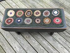 Primitive Black wood bench With Prim Penny Rug hooked Runner On top