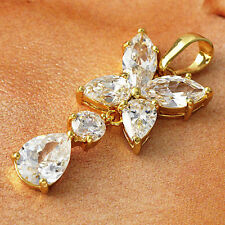 Swarovski Crystal 24k Gold Plated Womens Flower Pendant for Long Chain Necklace