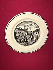 Staffordshire Creamware Liverpool Plate With Dancing Dog Transfer Ca. 1800