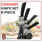 6 Piece Ceramic Knife Chef Kitchen Cutlery Set with Peeler & Stand-OZ Stock