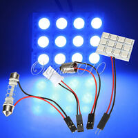 T10 BA9S 12 SMD LED Panel Car Interior Dome Light Lamp Bulb Adapter Blue DC 12V