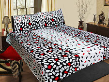 Homefabs 100% Cotton Double Bed Sheet with 2 Pillow Covers (DBS 070)