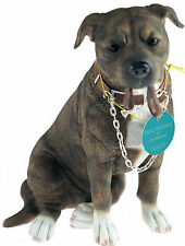 Walkies 19 cm Staff - Brown Staffordshire Bull Terrier Dog Ornament Figurine