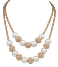 Fashion Vintage Women Chain Pendant Statement Chunky Collar Bib Pearl Necklace