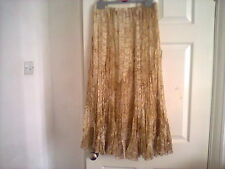 Together womens beige/brown/gold elastic waist long lined skirt size 12 nwot