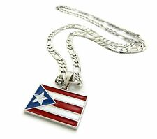 """New PUERTO RICO FLAG  Pendant 5mm/24"""" Figaro Chain Hip Hop Necklace XSP361"""