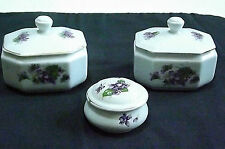 Vintage China Set of 3 Trinket Lidded boxes Epiag Aich,  Made in Czechoslovakia