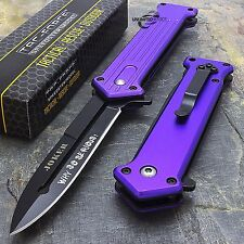 "7.5"" JOKER SPRING ASSISTED TACTICAL STILETTO FOLDING POCKET KNIFE Blade Purple"