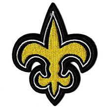 "Fleur De Lis - Black & Yellow - Embroidered Iron On Applique Patch - 3 3/8""H"