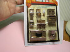 "Miniature Dollhouse 8 Pc Plastic Dining Room Set 1/4"" 1:48"