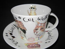 CAT WALK  BREAKFAST CUP SAUCER,fine bone china, Made in England by  ROY KIRKHAM