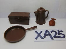 VINTAGE 1960'S JOHNNY WEST DOLL PARTS FRYING PAN-GOLD BAG-TREASURE CHEST-COFFEE