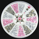 4 sizes Rivet Nail Art Decoration 3D Acrylic Glitter Pink Gray White Rhinestone