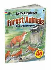 Let's Explore! - Forest Animals Coloring Book With 4 Pages of Color Stickers