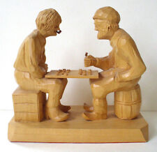 Caron Wood Carving Vintage Sculpture CHECKERS GAME Folk Art Canadian Artwork