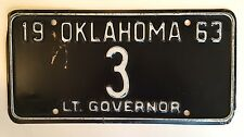 1963 Oklahoma Lieutenant Governor License Plate Rare Single Digit #3 Low Number