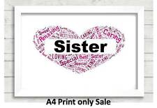 Personalised Sister Word Art Gift Birthday Present Auntie Sisters Mum Aunty