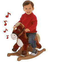 Kids Rocking Pony Horse Talking Soft Plush Brown Toddler Ride Toy Children New