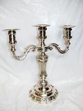 Vintage 3 Candle Candelabra Candle Holder Candlestick Silver Plate Silverplated