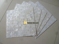 pure white mother of pearl seamless groutless shell mosaic tile backsplash
