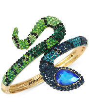 NWT Betsey Johnson GARDEN OF EXCESS Colored-Crystals Snake Hinged Bracelet~ $95