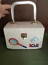 Tennis Vintage 70s  MRB Mary R Buchanan Wood Purse Lucite Handle With Keychain