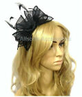 Large Black Headband Aliceband Hat Fascinator Wedding Ladies Race Royal Ascot