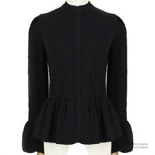 Alexander Mcqueen Wool Cashmere Jacquard Knit Peplum Black Cardigan M UK10 IT42