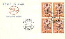 FDC Cavallino - Italia - 1964 - Giornata del francobollo (quartina) NVG - Milano