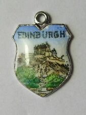Edinburgh, Castle, Military Tattoo vintage silver enamel shield travel charm