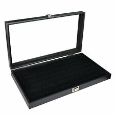 Jewelry Display Case Box w 72 Slot Ring Tray Holder Organizer Storage Glass Show