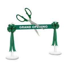 "36"" Green/Silver Ceremonial Ribbon Cutting Scissors Deluxe Grand Opening Kit"
