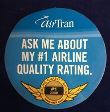 RARE AIRTRAN AIRWAYS Airline Quality Rating ROUND STICKER 2008