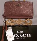 NWT COACH BLACK CHEERY GLITTER Leather Double Zip Phone Wristlet Wallet 53646
