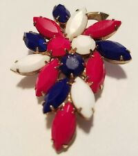 Unsigned WEISS VTG Brooch Pin Red White Blue Milk Glass Leaf Patriotic USA 2.25""